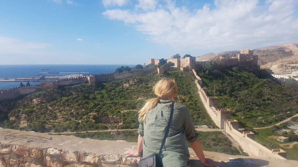 The view to the Castillo San Cristobal and Murallas de Jayran, Almeria
