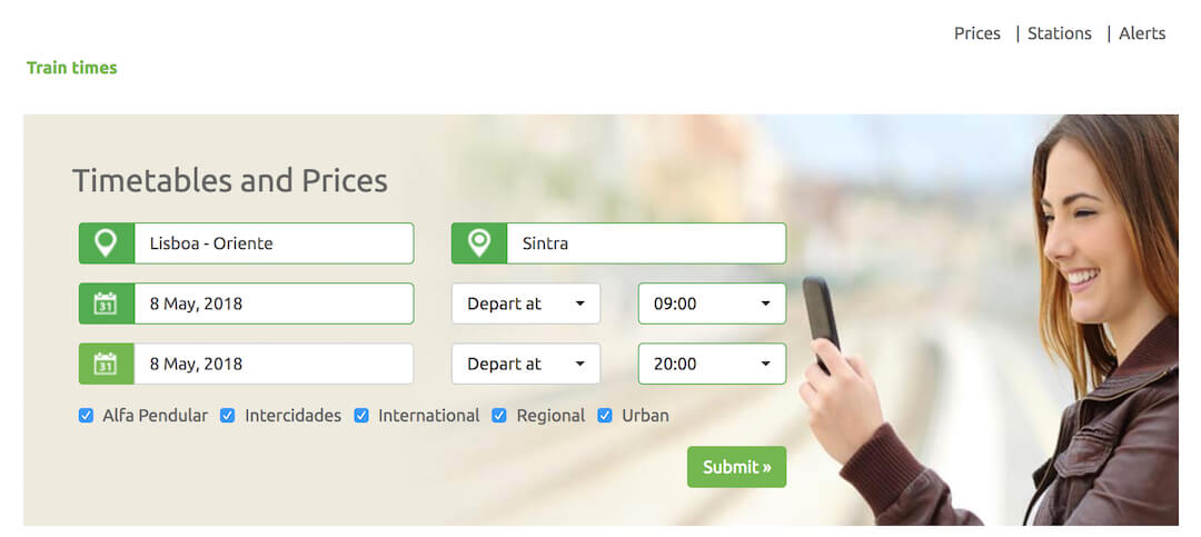 Look up the timetable or simply use the wizard to find the current train times from Lisbon to Sintra and back
