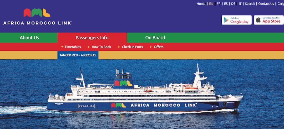 Ferry Spain to Morocco with campervan - AML