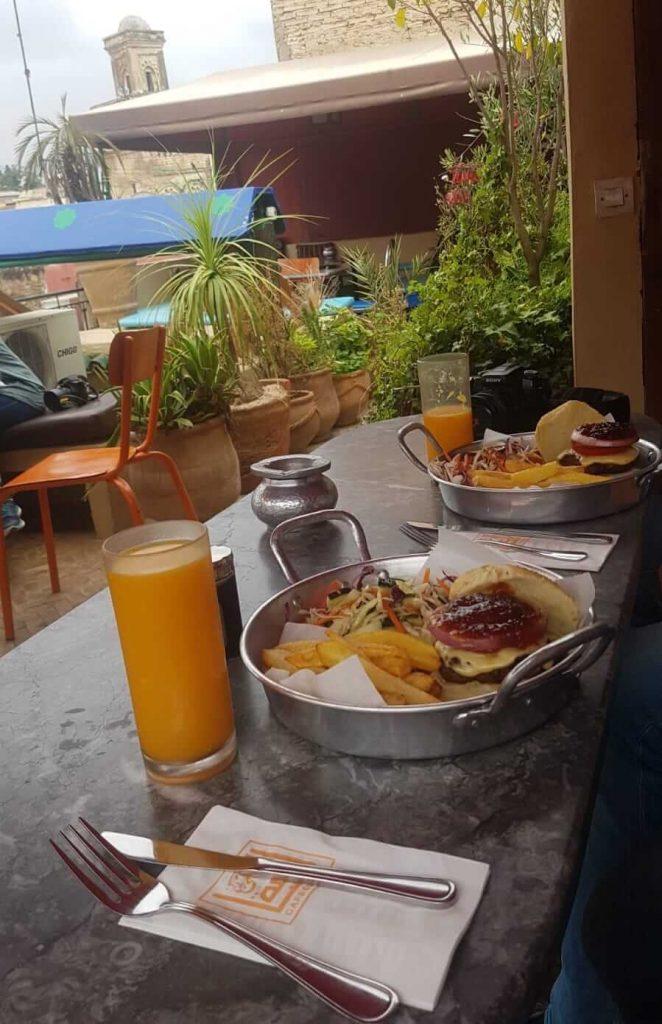 4 week morocco itinerary - camel burger. cafe clock